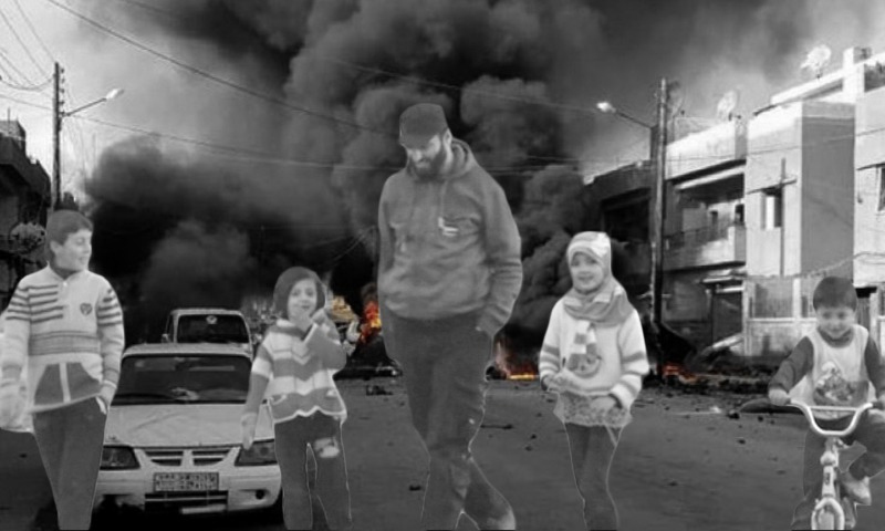 Former leader of the Free Syrian Army, Imad Abu Zureik with a number of children - 10 June 2016 (A photo edited by Enab Baladi)