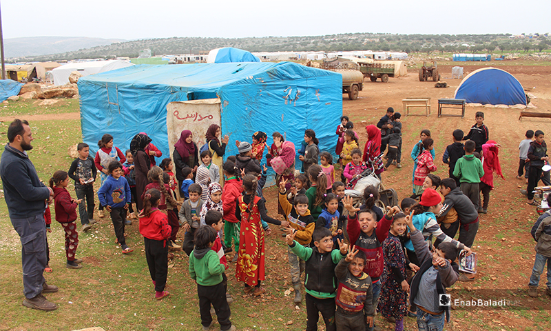 150 students receive education in a worn-out tent in camps east of Kafr Arouk village, north of Idlib - 12 March 2020
