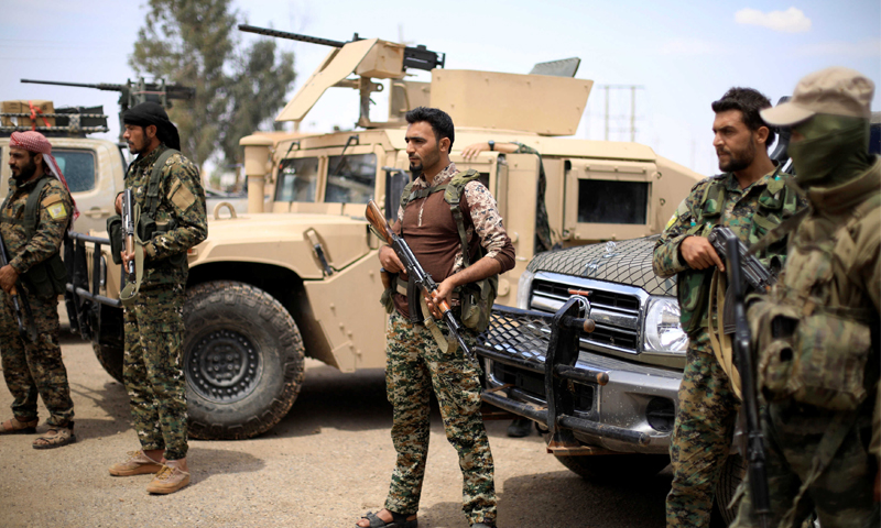 SDF fighters in eastern Euphrates - May 2018 (Reuters)