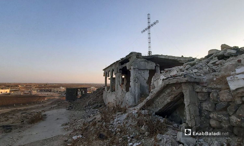 "The cross raised over the hill of ""Umm Sharshuh"" - 4 October 2020 (Enab Baladi / Urwa al-Mundhir"