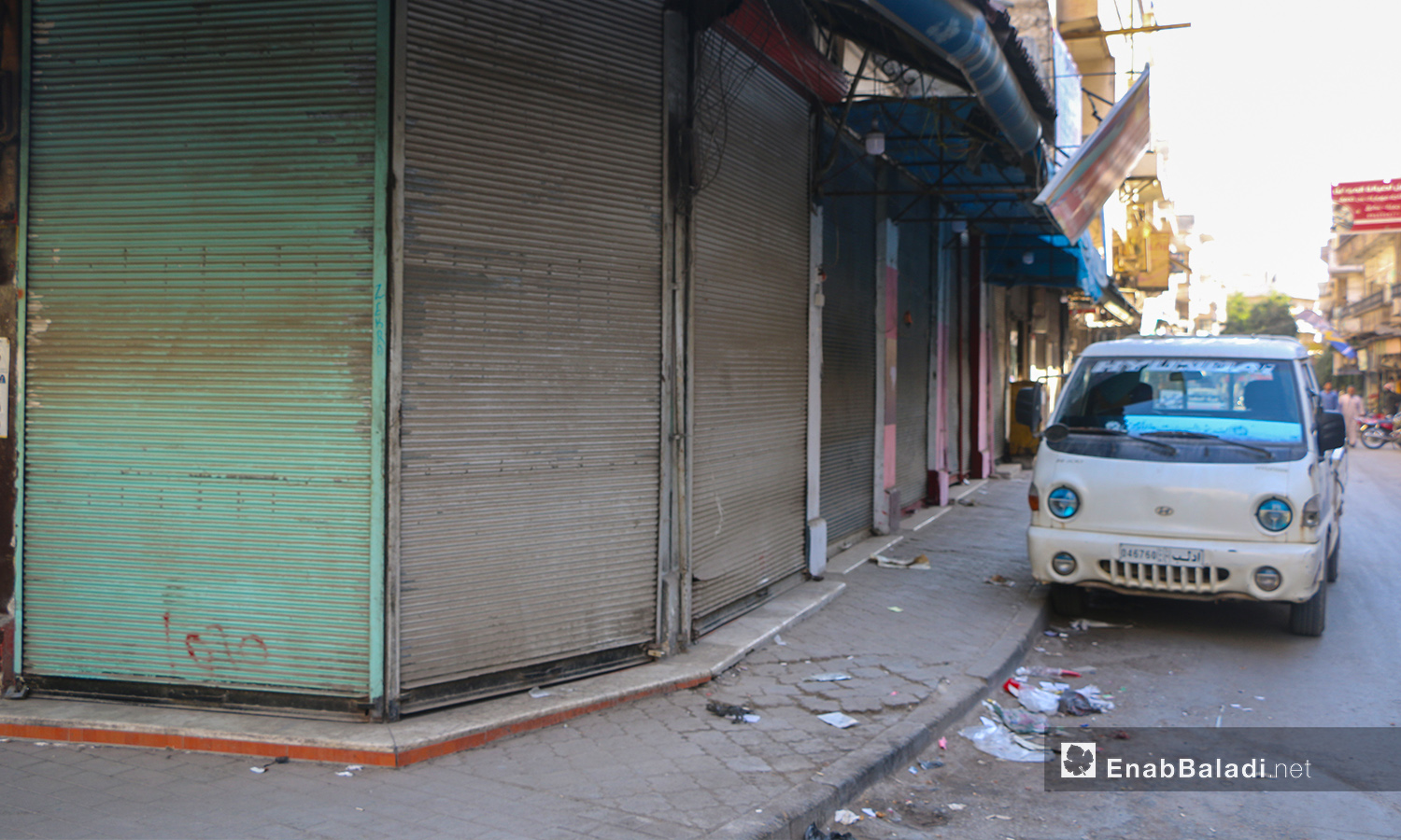 """Closed shops in Idlib city due to a partial strike to condemn the Russian massacre, which left tens of fatalities in a training camp for the """"Sham Legion"""" faction- 27 October 2020 (Enab Baladi  Anas al-Khouli)"""