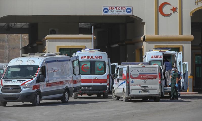 Ambulances passing through Bab al-Hawa border crossing with Turkey - 21 October 2020 (Bab al-Hawa Crossing Facebook page)
