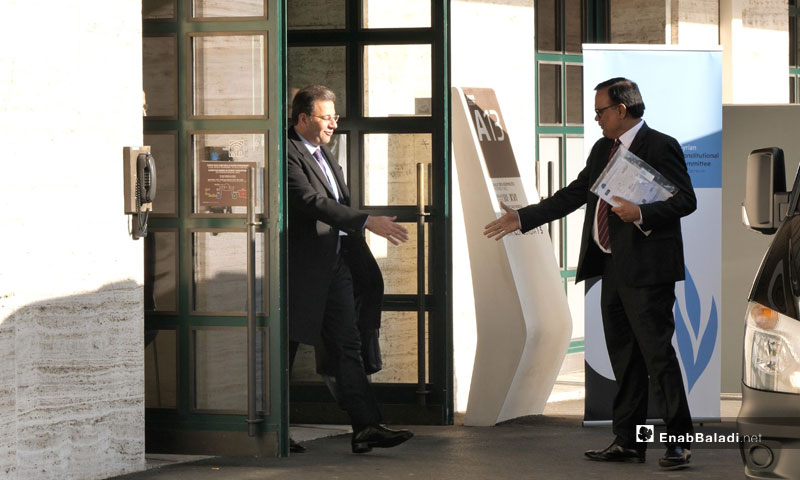 The head of the Syrian regime's delegation of the Syrian Constitutional Committee (SCC), Ahmad al-Kuzbari, leaving the United Nations (UN) building in Geneva - 26 November 2019 (Enab Baladi)