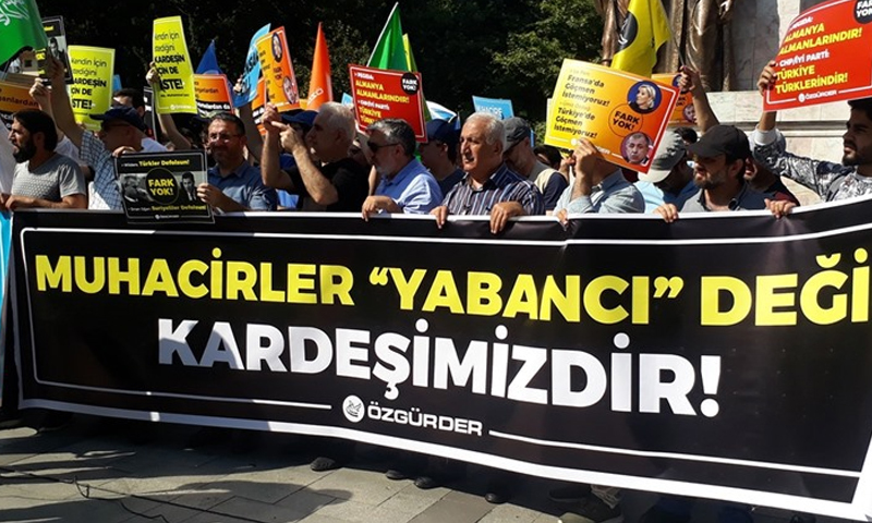 """A sit-in organized by the Turkish """" Özgüder"""" association in solidarity with Syrian refugees in Istanbul - 6 July 2019 (Anadolu Agency )"""