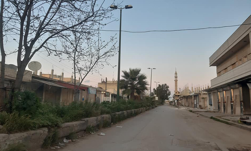 The curfew in al-Qusayr city as part of the precautionary measures to confront the novel coronavirus (COVID-19) pandemic (Al-Qusayr city council)