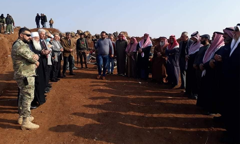 """Dignitaries from Daraa and As-Suwayda with elements from the """"Eighth Brigade"""" during its withdrawal of military posts from al-Qarya town - 09 November 2020 (Suwayda 24)"""