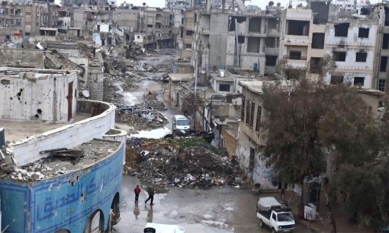 The destruction in al-Qaboun neighborhood (Khotwa website)