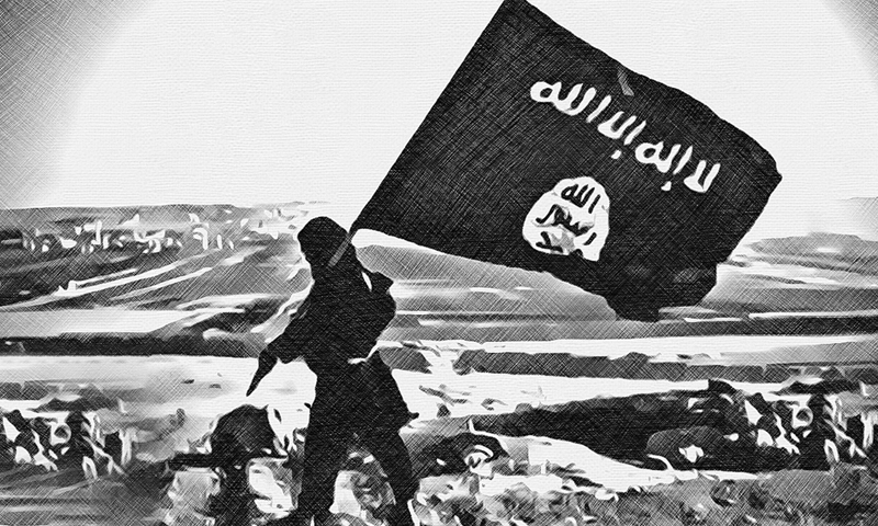 An expressive photo of a fighter raising the flag of the Islamic State (IS) organization (edited by Enab Baladi)