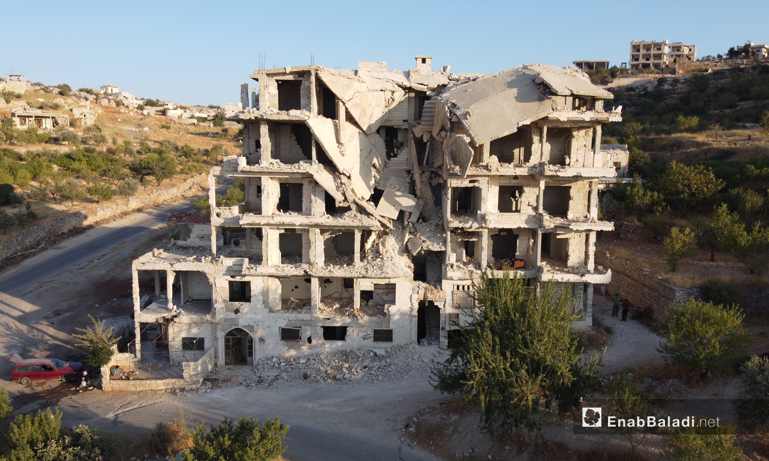 A destroyed building as a result of the bombing in the city of Ariha in the southern countryside of Idlib - 23 September 2020 (Enab Baladi / Yousef Ghuraibi)