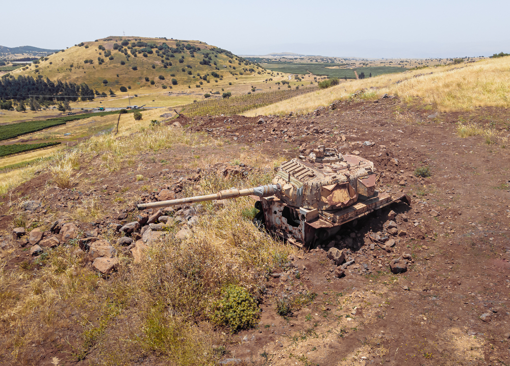 An Israeli tank destroyed in the battles of the 1974 war in the occupied Golan Heights - 2018 (shutterstock)