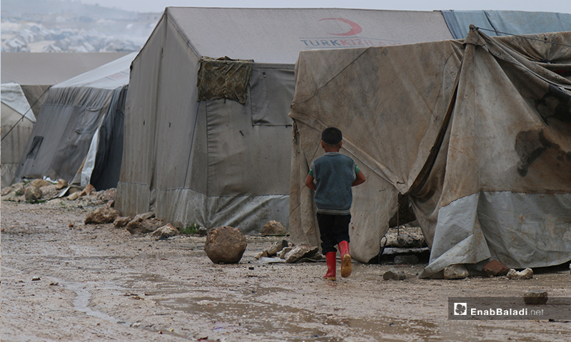 A child walking in the rain in the Labeh Aleppo camp - April 24 (Enab Baladi)