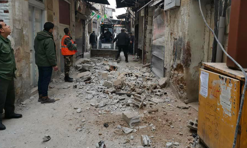 A building collapses in al-Shaghour neighborhood in Damascus - 2020 (Al-Watan newspaper)