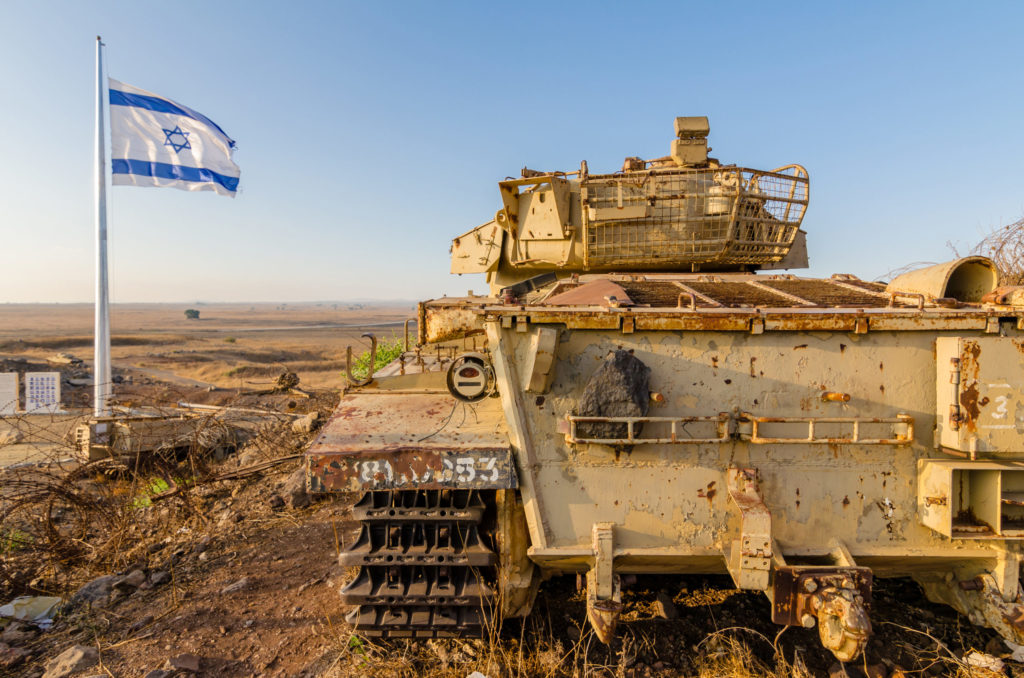 An Israeli tank in the occupied Golan Heights