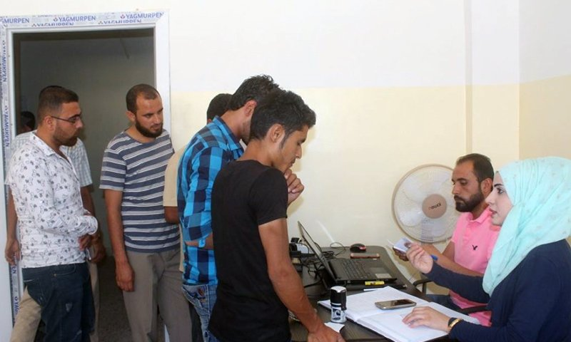 Young men at the Employment Office, affiliated with the Raqqa Civil Council – 2 July 2020 (Raqqa Civil Council)