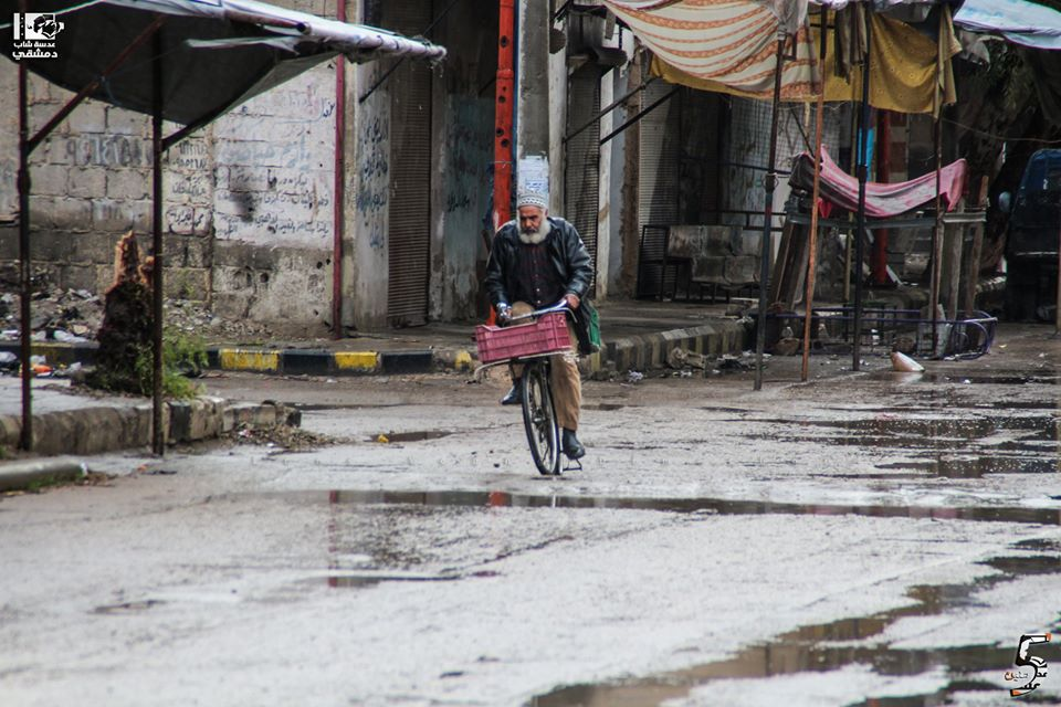 A man riding a bicycle in southern Damascus - January 26, 2018 (Lens of Young Damascene)