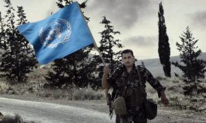 Syrian soldier carrying the UN flag (Designed by Enab Baladi)