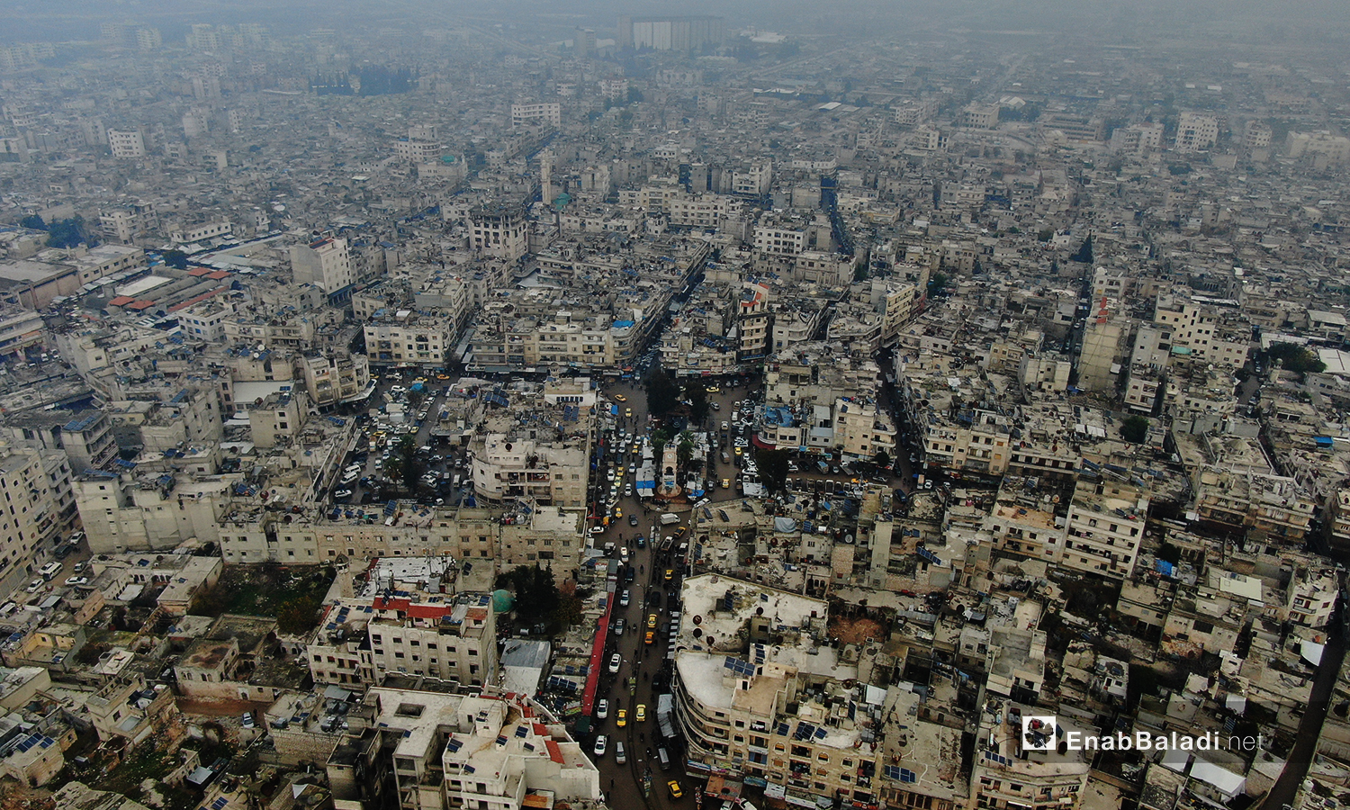 An aerial image of Idlib city