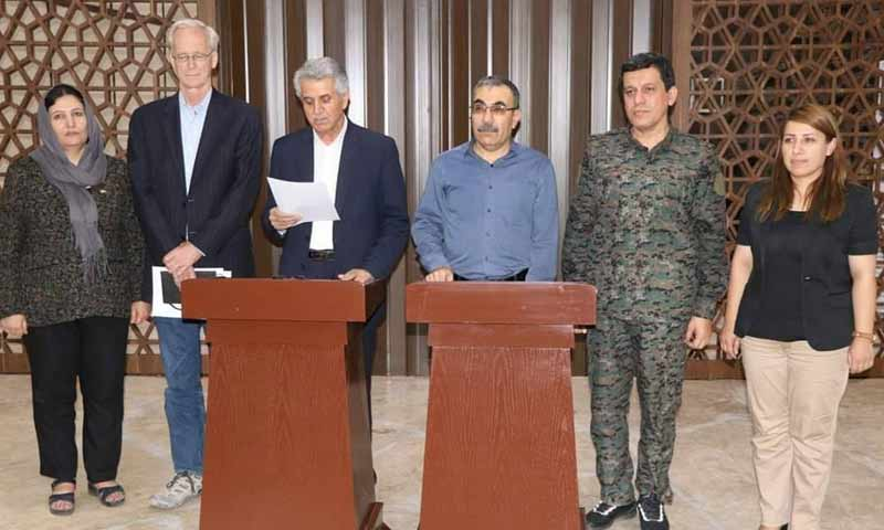 The two parties to the Kurdish dialogue with the US sponsor of the intra Kurdish negotiations (North Press Agency)