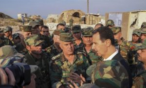 The President of the Syrian regime, Bashar al-Assad, with army officers — 22 October 2019 (Syrian Presidency)