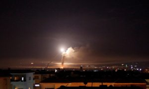 Syrian regime's Surface-to-air missile launchers while attempting to intercept an Israeli bombardment (Reuters)