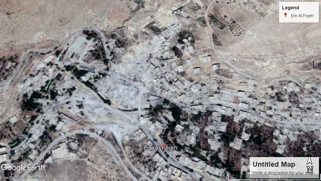 A Google Maps screenshot of the Ain al-Fijeh Spring on 15 July 2018