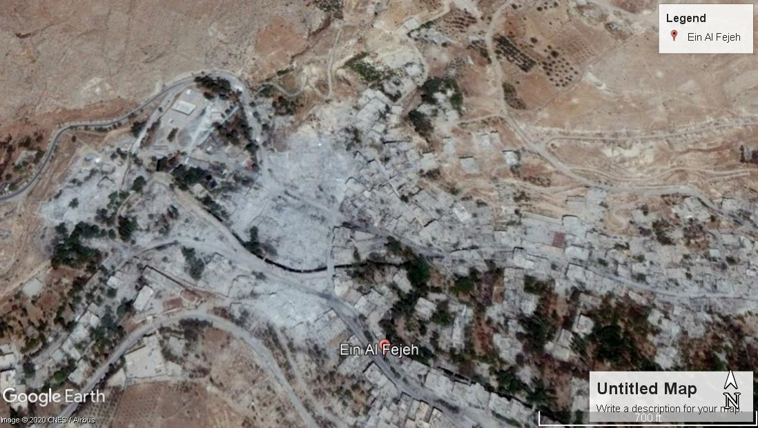 A Google Maps screenshot of the Ain al-Fijeh Spring on 8 September 2017
