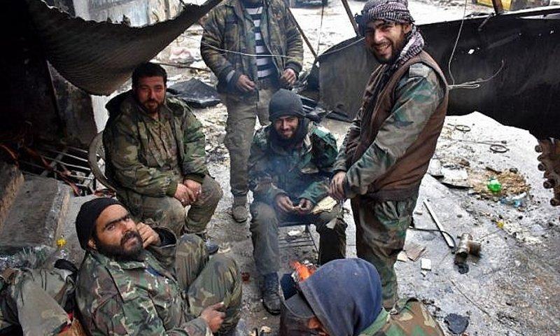 Some Syrian regime fighters in Aleppo - December 2016 (AFP)