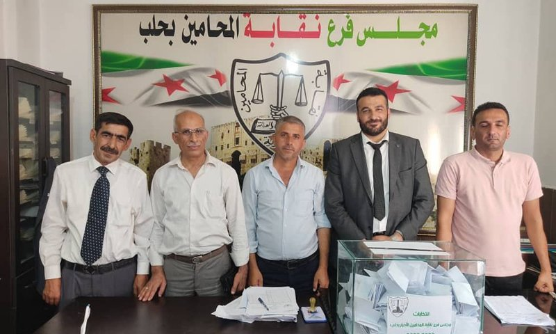 The Minister of Justice of the Syrian Interim Government and members of the Aleppo-based Free Lawyers Association (FLA)—28 June 2020 (Ministry of Justice/Facebook)