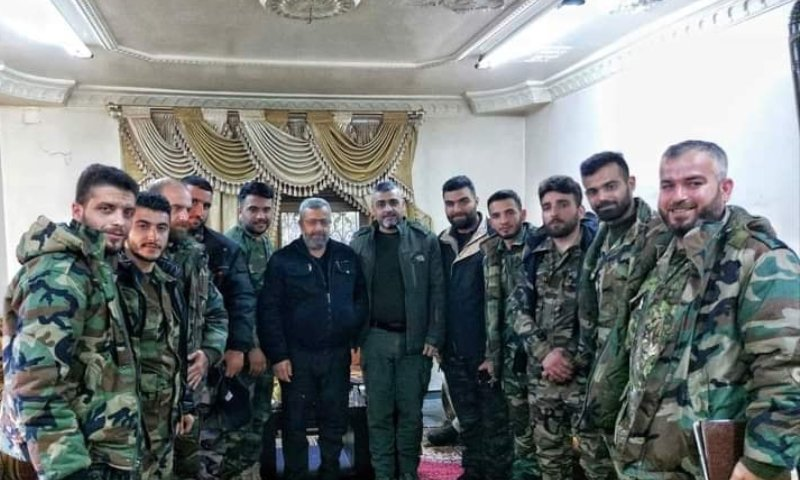 Brigadier General Ghiath al-Dala of the 4th Division, accompanied by several of his personnel in Daraa (Al-Ghaith group of the 4th Division's Facebook page)