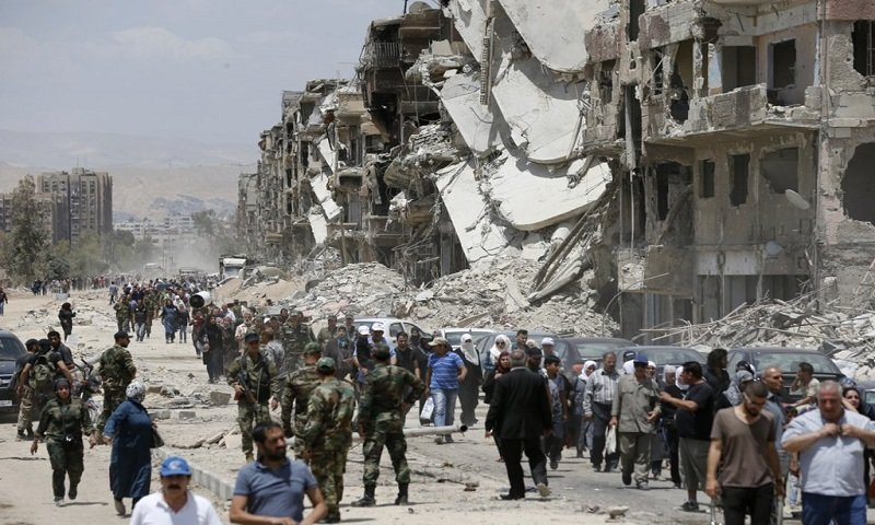 The 30th Street in the Yarmouk camp (AFP)