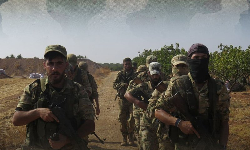 Members of Syria's opposition National Liberation Front during military training - 22 October 2020