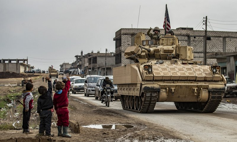 Children saluting U.S. troops in al-Hasakah province, northern Syria – 17 December 2020 (AFP)