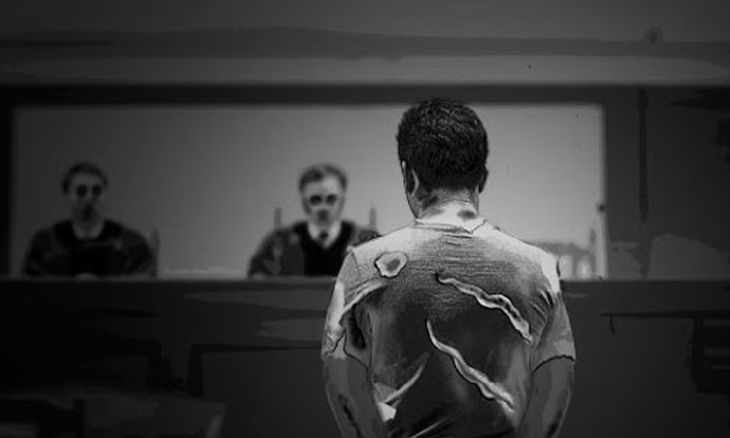 An expressive image of a detainee standing before the Counter-Terrorism Court (the Syrian Network for Human Rights)
