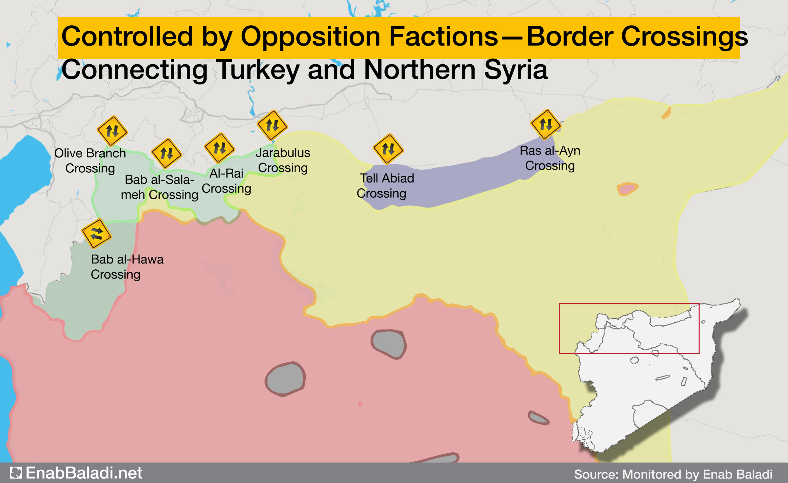 Map locating border crossings connecting northern Syria to Turkey