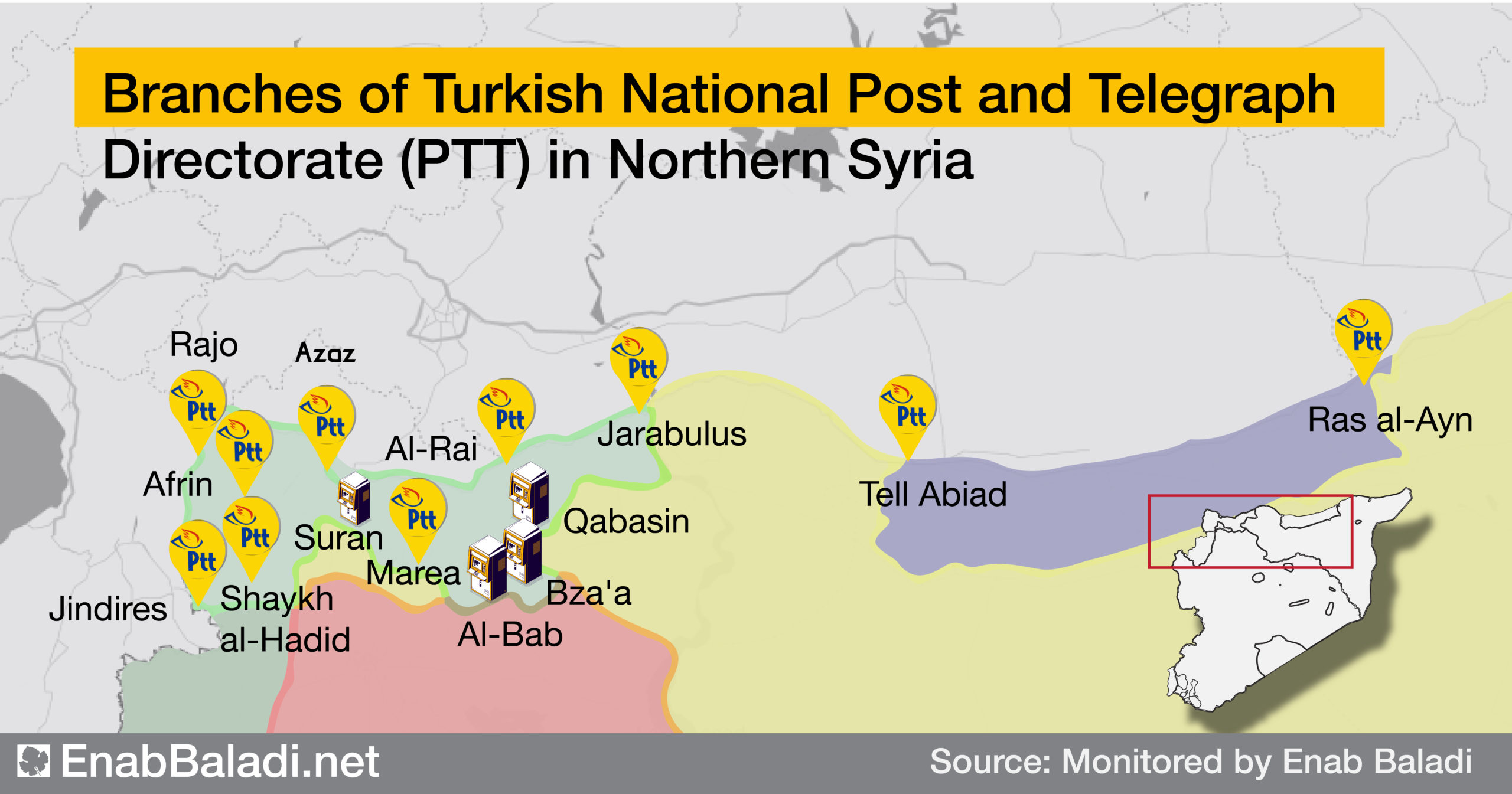 PTT branches across northern Syria