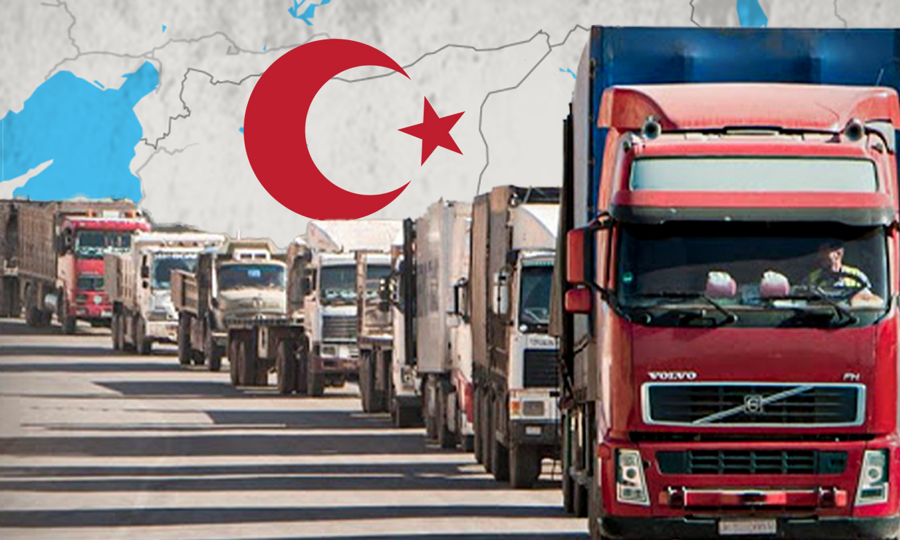 Trucks transporting goods and relief aid through the Bab al-Hawa border crossing (Edited by Enab Baladi)