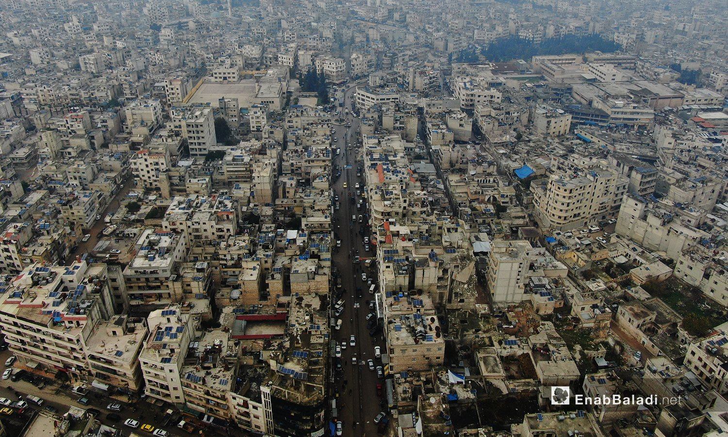 An aerial image of Idlib city showing its buildings and main streets - 24 October 2020 (Enab Baladi / Yousef Ghuraibi)