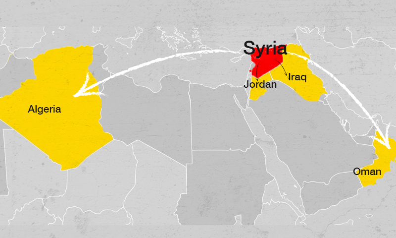 A map showing the Syrian regime's economic cooperation with Arab countries (Enab Baladi)