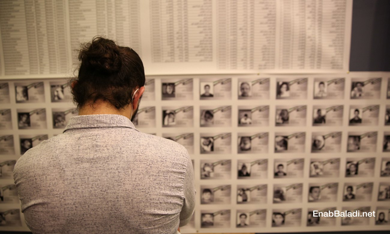 The Residents of Memory photo exhibition, displaying thousands of pictures of child victims killed after 2011, organized by the Syrian activist Tamer Turkmane in Istanbul – 13 October 2020 (Enab Baladi/Abdulmuinn Humus)