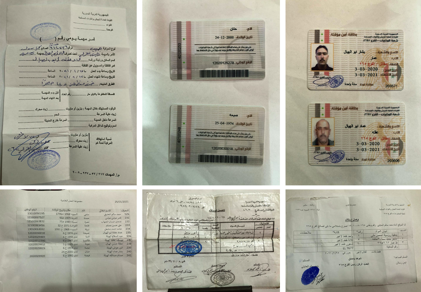 Documents belonging to the Military Intelligence group arrested during a smuggling operation.