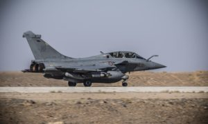 An International Coalition aircraft preparing to take off from the operational airbase of the Levant (International Coalition)