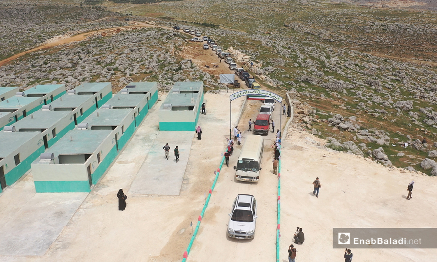 Opening of the Kuwaiti Village Camp on a far-flung hill in the northern countryside of Idlib - April 2020 (Enab Baladi)