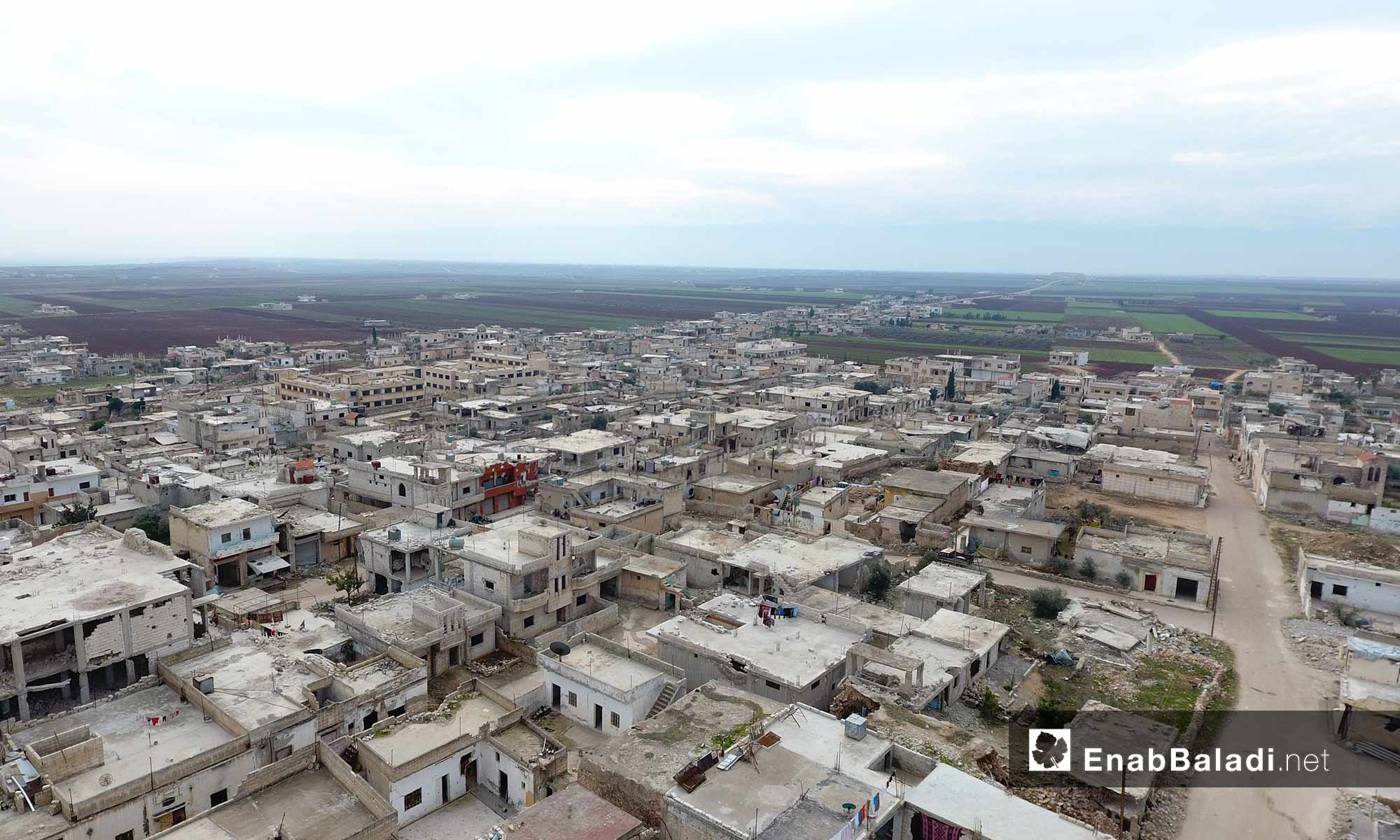 Drone photo of the Kafr Nabudah town, northern rural Hama—18 August 2017 (Enab Baladi)