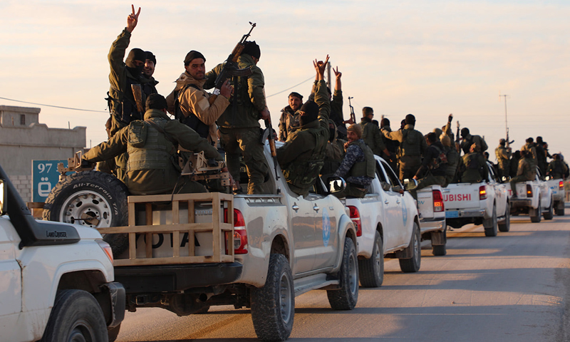 Asayish fighters on their way to storm al-Hol camp in Syria -March 2021 (Asayish)