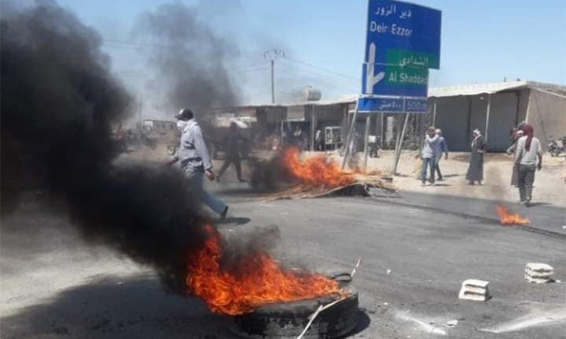 Protests in the countryside of al-Hasakah governorate decrying recent hike in fuel prices— 18 May 2021 (Naher Media)