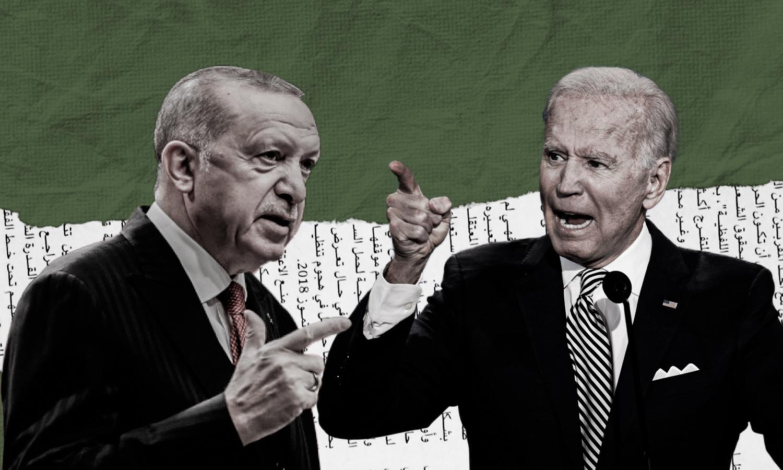 US President Joe Biden and Turkish President Recep Tayyip Erdoğan (Edited by Enab Baladi)