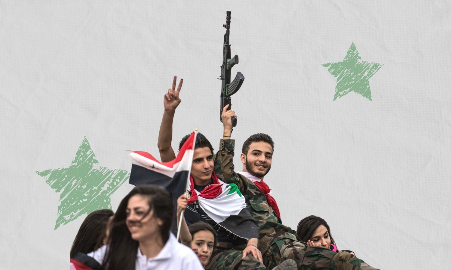 A group of young people expressing their support to the 2021 re-election campaign of Syrian regime president Bashar al-Assad (Xinhua / edited by Enab Baladi)