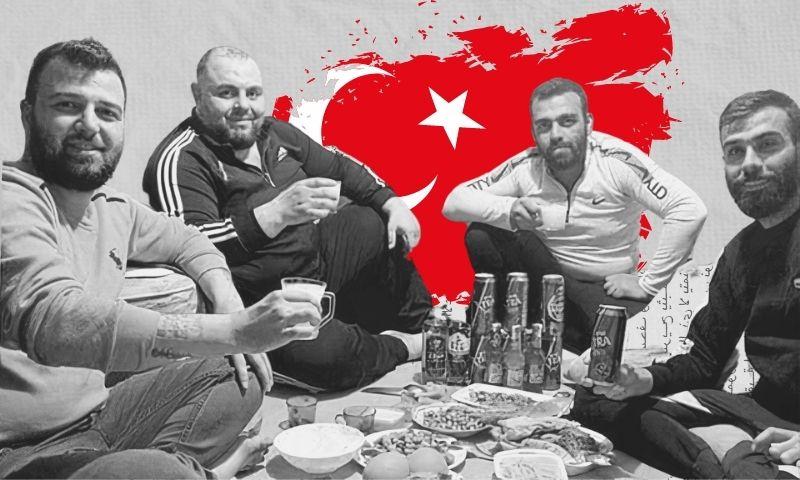 People smuggler Karam Yahya sitting with Syrian regime extreme loyalists (shabiha) in the Turkish city of Mersin (Karam Yahya's Facebook account - edited by Enab Baladi)