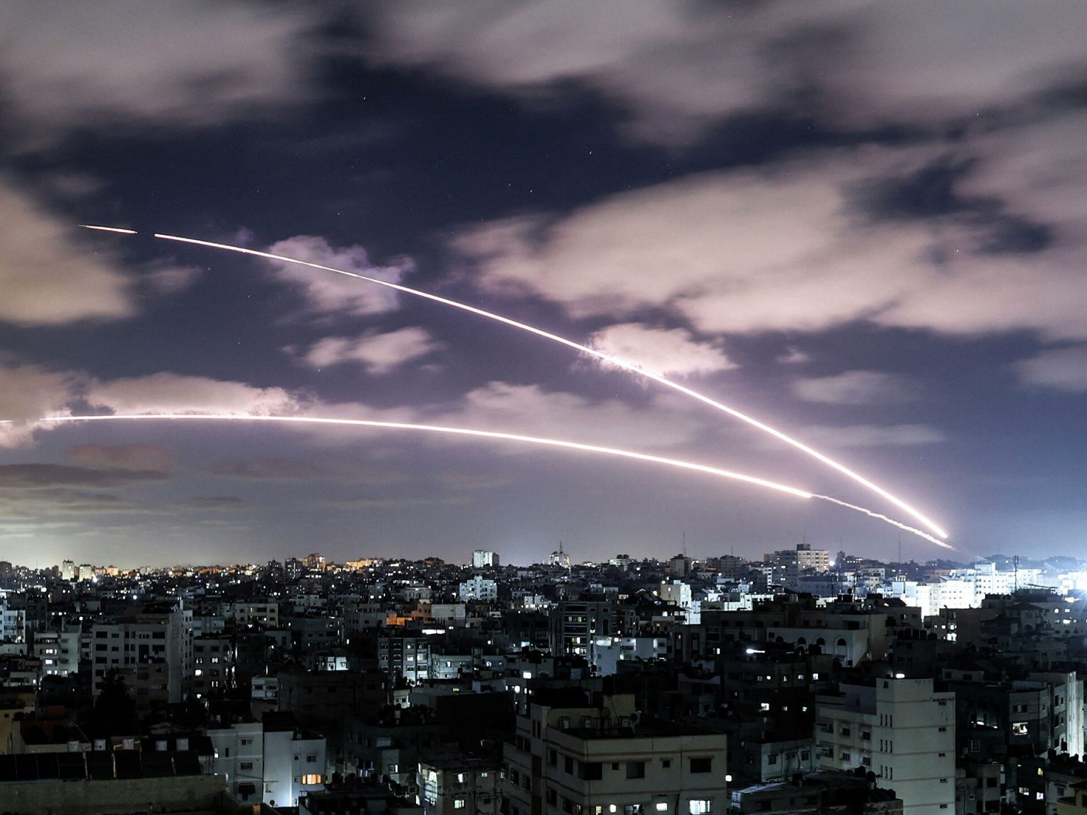A rocket burst by Hamas launched from Gaza towards Israel, amidst the mounting Israeli-Palestinian violence —18 May 2021 (AFP).