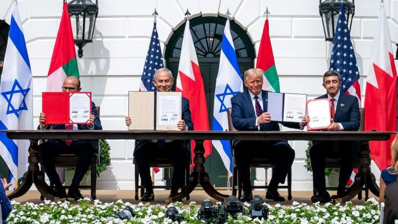 The official ceremony during which the UAE and Bahrain signed normalization deals with Israel — September 2020 (Getty)